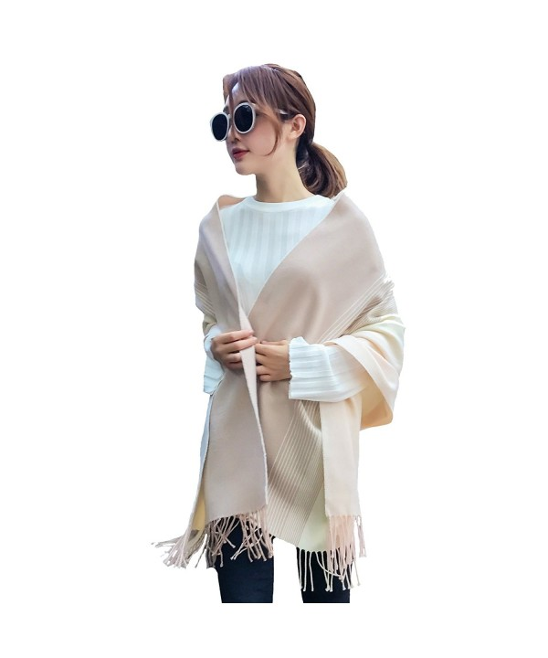 Womens Large Soft Cashmere Feel Pashmina Shawls Wraps Winter Light Scarf - Light Yellow - Rice White - CC186ID6K6M