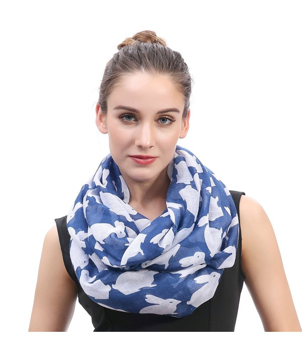 Lina & Lily Rabbit Bunny Print Infinity Loop Women's Scarf Lightweight - Blue - CZ185OAOWAK