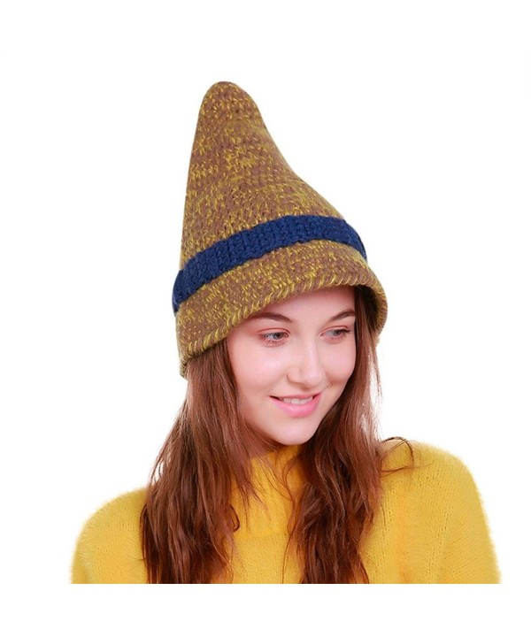 Permen Perman Women Knit Witch Hats Winter Warm Soft Beanie Caps - Yellow - CD188HN5STY