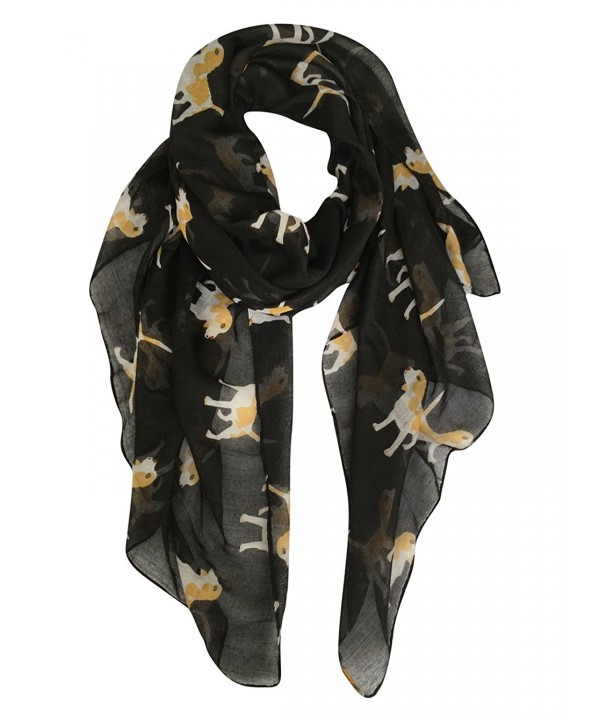 GERINLY Animal Print Scarves: Cute Dogs Pattern Voile Oblong Scarf - Black - CQ185GZS76M