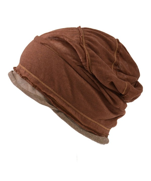 CHARM Casualbox  Mens Womens Slouch Large Big Beanie Baggy Hat Knit Japanese Fashion - Brown - C311C6CFLQF