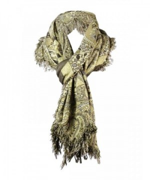 Collection Eighteen Women's Floral Paisley Fringe Scarf - Gold - CZ126MGRAAN