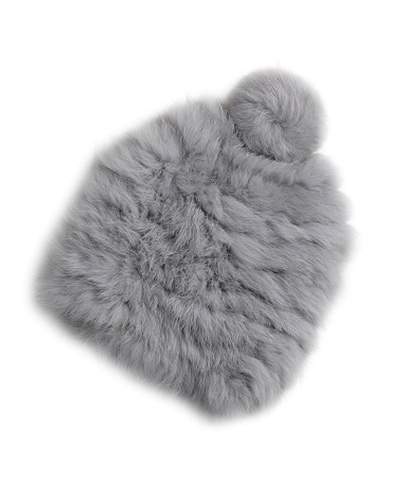 XWDA Women's Winter Knitted Rabbit Fur Hat Cap - Gray - CM12O744J0N