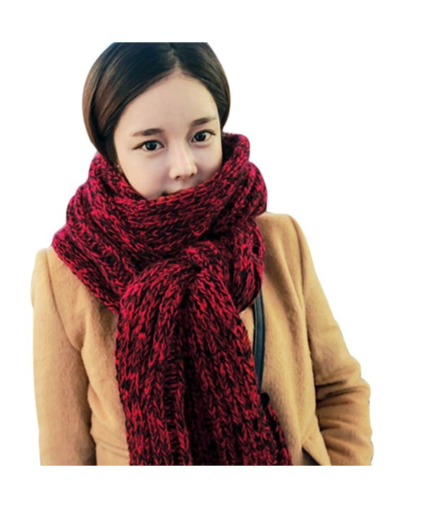Unisex Mixed Color Wool Knitted Scarf Lovers Thickening Warm Extra Long Wrap Collar - Red - CO12MFXT9DF