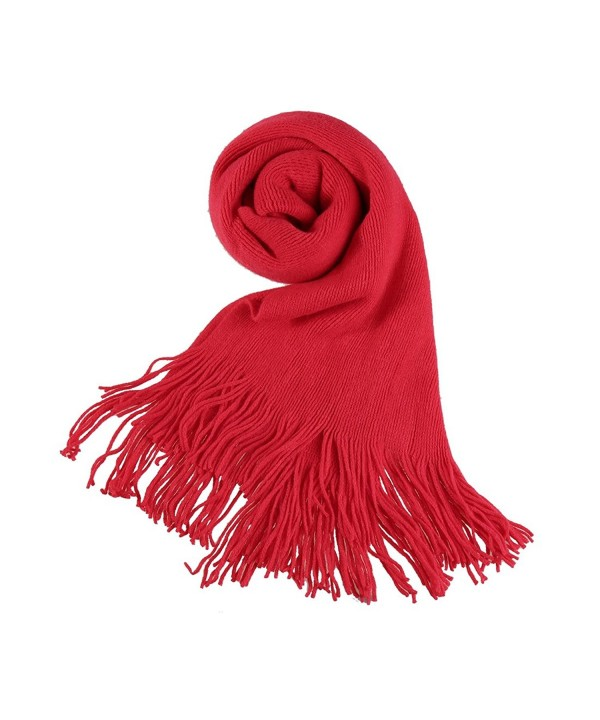 Allegra K Unisex Rectangle Shape Winter Warm Long Knitted Scarf - Red-2 - CG1875CQU48