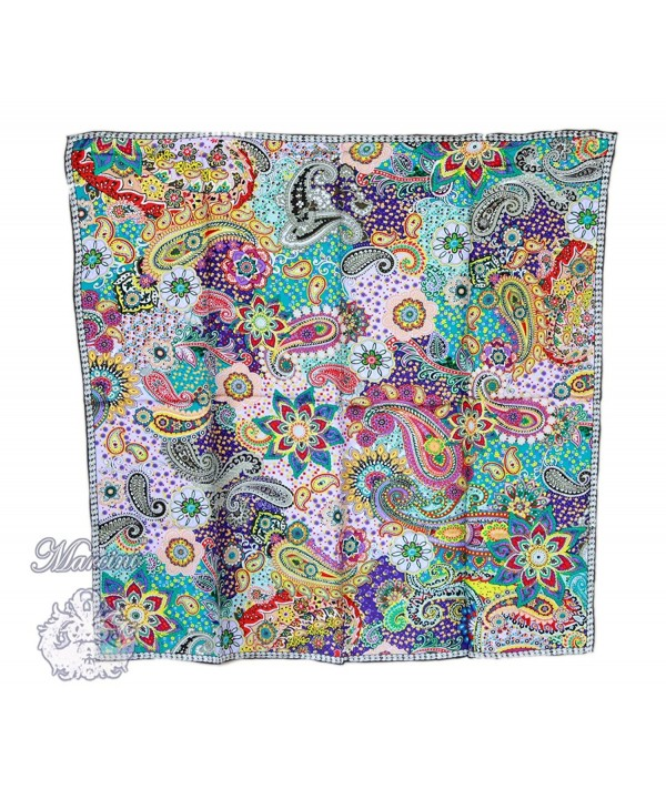Marcini 100% Luxurious Charmeuse Silk Square Scarf Shawl - Multicoloured - C211CRNJRVD