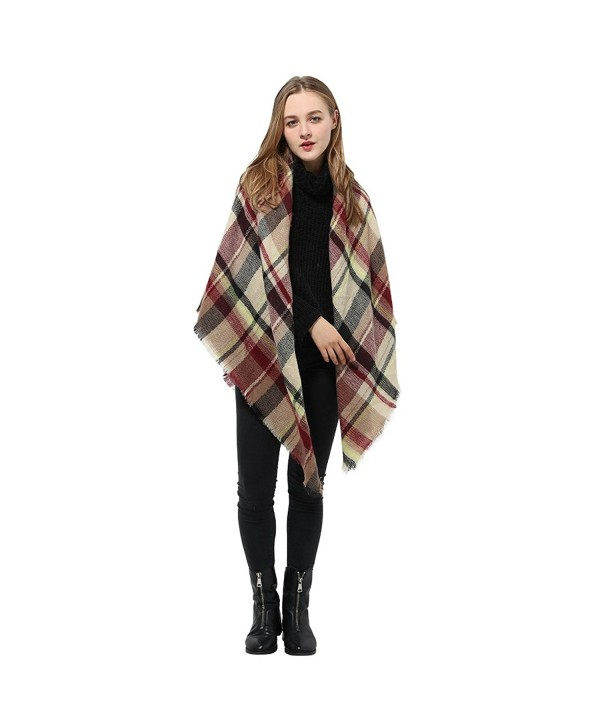 Tartan Blanket Scarf Wrap Shawl Checked Pashmina Winter Scarf for Women - Kahki Mix - CA186A8N204