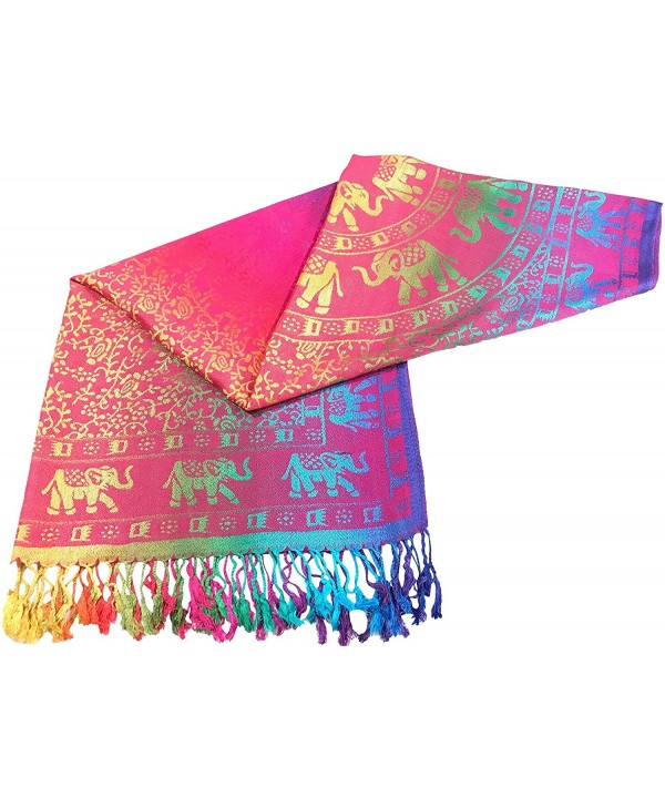 Elephant Design Shawl Pashmina Scarf Wrap Stole Throw Pashminas CJ Apparel NEW - Pink - CX12O4KKKY0