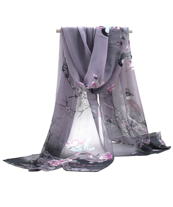 Shineweb Women's Floral Scarves: Chiffon Flowers Birds Printed Scarf - Grey - CZ12MXVD8P3