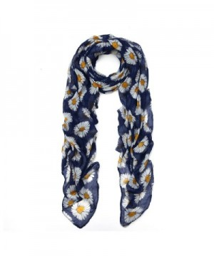 Premium Daisy Floral Fashion Scarf Wrap - Different Colors Available - Navy - CD11OBT9YH3