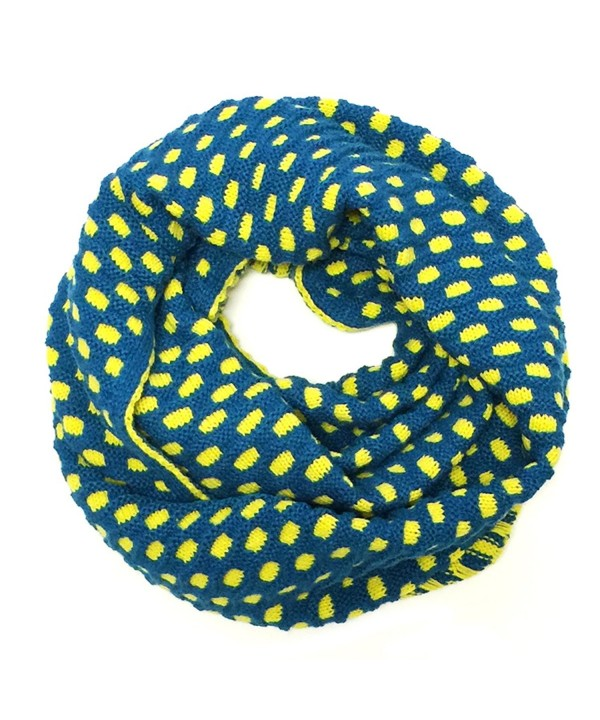 Wrapables Dottie Infinity Acrylic Knit Scarf Circle Scarf- Teal/Yellow - CU11RC6W9DD