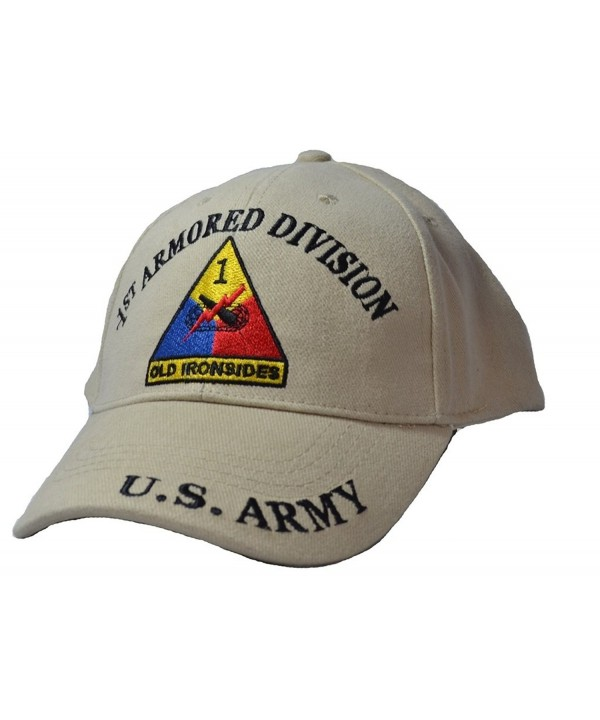 Eagle Emblems Men's 1st Armored Division Tan Embroidered Ball Cap - Tan - CB11WYD7ZB5
