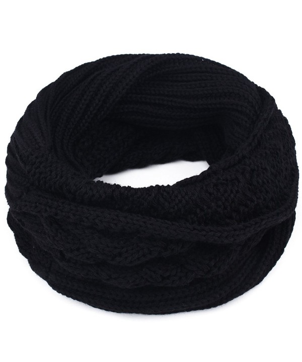 Women's Winter Knit Infinity Scarf - Thick Ribbed Knitted Cable Circle Loop Scarf FURTALK Original - Black - CV187I4C8RQ
