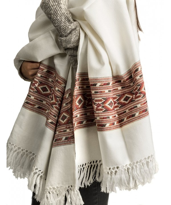 100% Lambswool Women Oversized Large Scarf Shawl White Cream Winter Camp Blanket - C912KIW3E2R