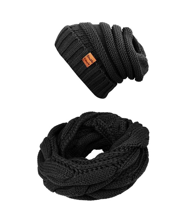 Winter Scarfs Knit Infinity Scarf Women & Men Circle Loop Scarves Hat Set - Black - C31868M523L