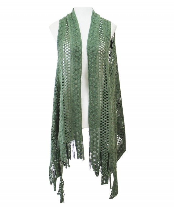 Le Nom Abstract pattern knitted scarf vest - Olive - C012MABBZIM