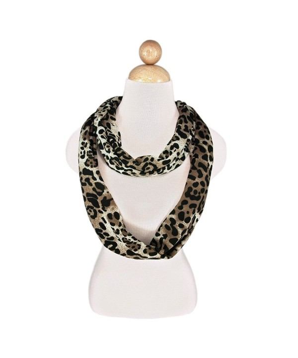 Leopard Animal Print Infinity Loop Fashion Scarf - Different Colors Available - Dark Brown - CA18C88N9XH