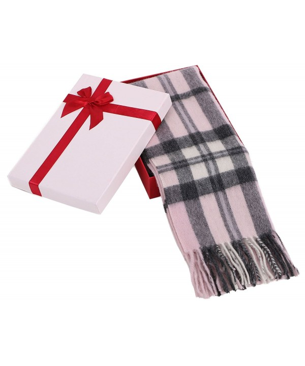 "Women's Winter Cashmere Scarf w/ Gift Box- 64"" x 11.5"" - Pink/Grey Plaid-34 - CI185W4QDA4"