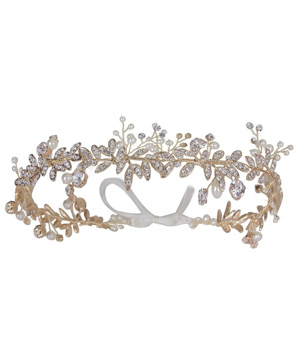 Vijiv Vintage Wedding Accessories Bridal Headpiece Flower Crown Headband Hair Wreath - Gold - C818649TOQH