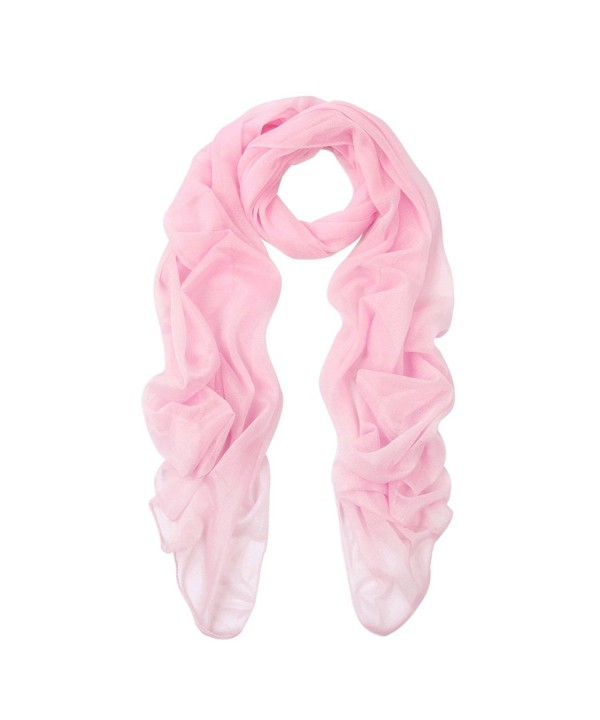 Elegant Silky Chiffon Sheer Plain Oblong Scarf Wrap - Different Colors - Pink - CG120A5JTIJ