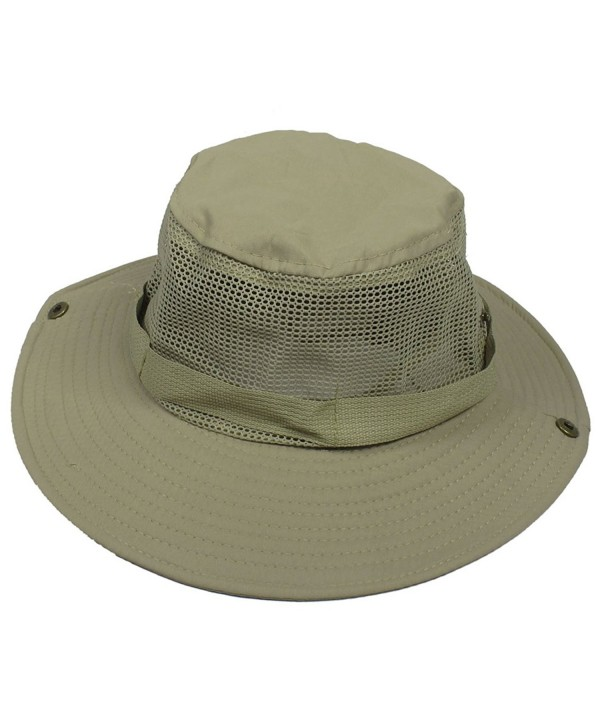 Wide Full Brim Grey Mesh Press Stud Fishing Hiking Sun Visor Hat - Gray - CK11E1W4MK9
