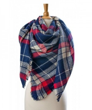 Plum Feathers Premium Plaid Pattern Knit Large Blanket Scarf with Fringes - Navy-red Plaid - CF12O4B8WDI