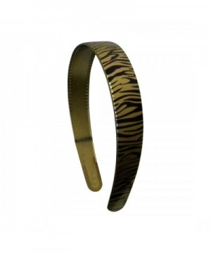 Gold 1 Inch Wide Plastic Headband with Zebra Strokes Hair band for Women and Girls - Gold - CA11QXR8WFB