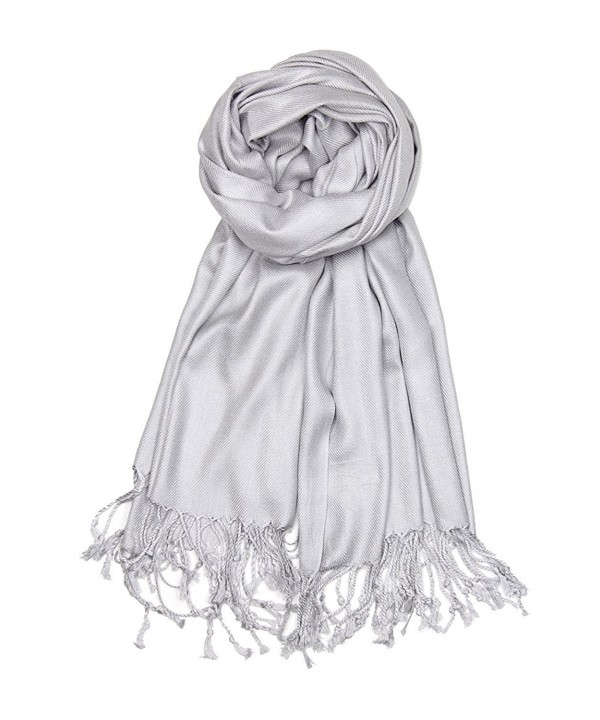Bazzaara Large Soft Silky Pashmina Shawl Wrap Scarf in Solid Colors - Silver Grey - CQ186GD3NDD