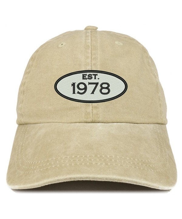 Trendy Apparel Shop Established 1978 Embroidered 40th Birthday Gift Pigment Dyed Washed Cotton Cap - Khaki - CY12O5QKQ1V