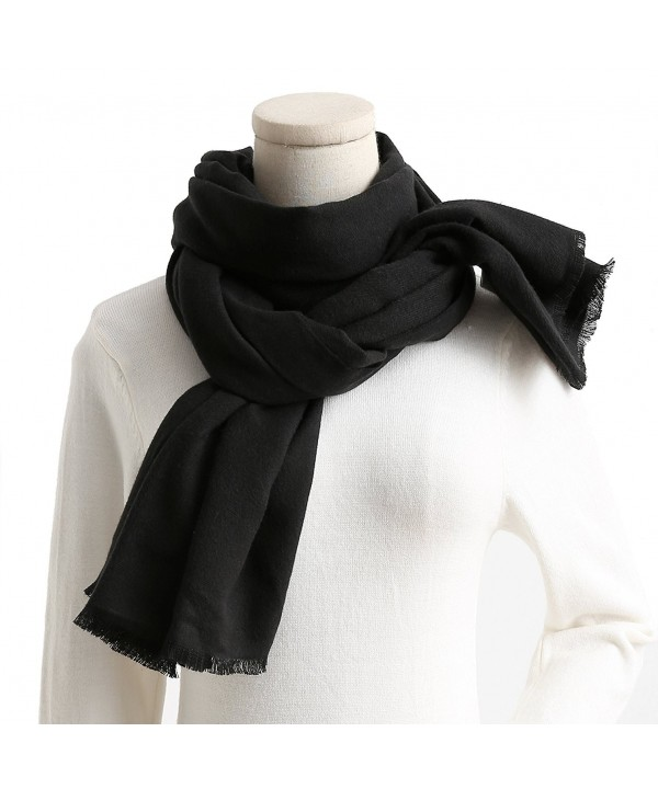 Cashmere Feel Cotton Blend Scarf / Shawl / Wrap Super Soft Large Scarves And Shawls - Black - CY1853E3KT4