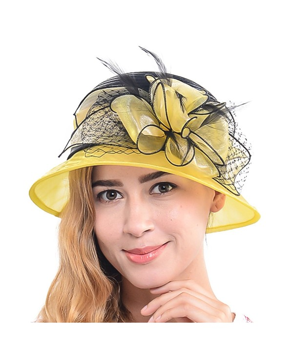 Wimdream Women's Church Wedding dress derby that Floral Bridal party formal Hat SS-X - S606-yellow - CQ17YK6Y6QO