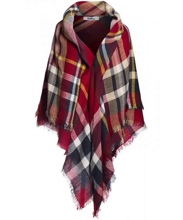 BodiLove Women's Multi-color Long Shawl Big Grid Winter Scarf Shawl - Navy Red - CE12MZ6IAXY