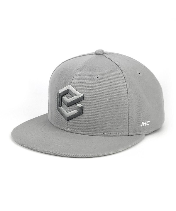 JHC Structured Adjustable Flat Bill Hip Hop Snapback Baseball Caps For Men - Grey - C0185X4RSYX