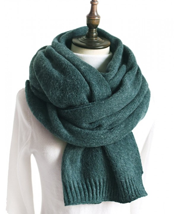 Women Knit Scarf- Faurn Thick Warm Soft Simple Neck Scarves Lambswool Pashmina Feel - Green - CA1888M8RXO