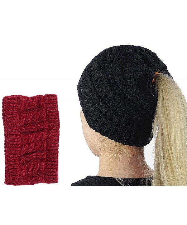 GOLDSTITCH Beanie Stretch Cable Ponytail - Black Ponytail - C31893UZU26