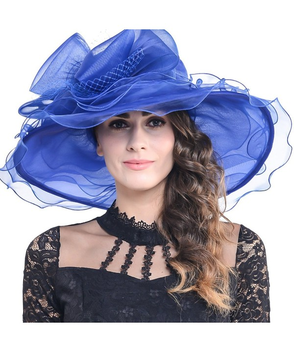 FORBUSITE Women Kentucky Derby Church Dress Organza Hat Wide Brim Flat Hat S601 - Royal Blue - CZ17Y29N3NN