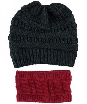 GOLDSTITCH Beanie Stretch Cable Ponytail in Women's Skullies & Beanies