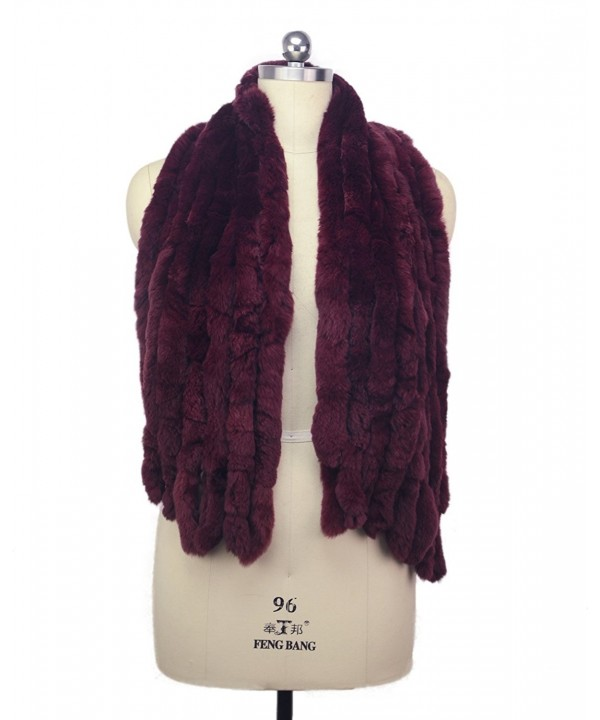 MEEFUR Women's Warm Scarves Fur Shawls Real Rex Rabbit Fur Wide Wraps - Winered - CK182GXGQ3L