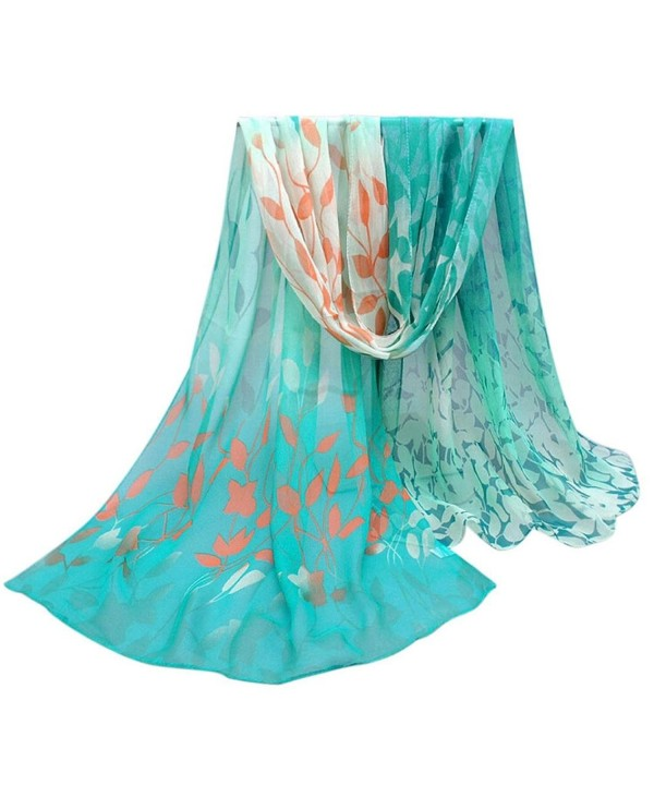 XUANOU Women Design Bright-coloured Printed Silk Soft Chiffon Shawl Wraps Scarf - Green - CL12MNX2XQ7