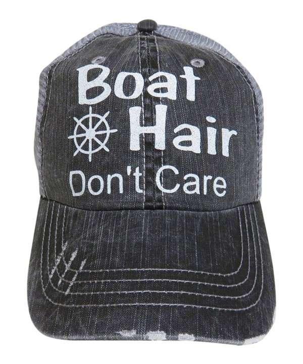 Glitter Boat Hair Don't Care Distressed Look Grey Trucker Cap Hat - White Glitter Letters - CP12GXQI9J5