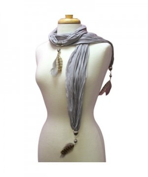 Gray Necklace Scarf With Feathers