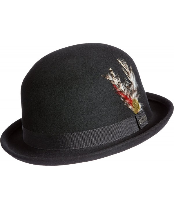 Overland Sheepskin Co Crushable Wool Derby Bowler Hat With Feather Accent - Black - CU184X2YSSN