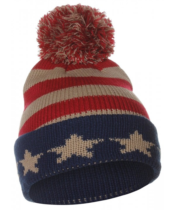 US Cities USA City Block Letters Cuff Beanie Knit Pom Pom Hat Cap - Navy/Red - C911P96WAQ3