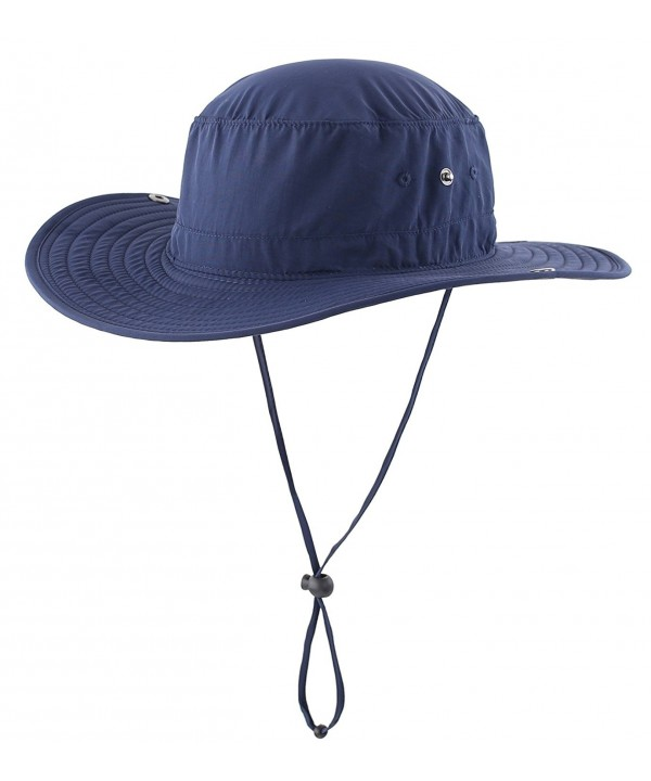 Connectyle Outdoor Cowboy Sun Hat Wide Brim Bucket Fishing Hats Summer String Hat - Nave Blue - CC12HL4F1PX
