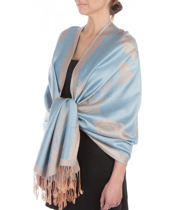 Sakkas Two Tone Rose Pashmina Scarf / Stole / Wrap - Powder Blue / Beige - CO117IMAJZF