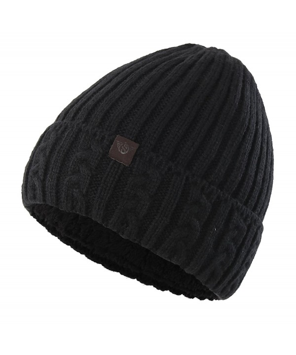 Home Prefer Men's Winter Hat Warm Knitted Hat Cuff Beanie Watch Cap With Lining - Black - CU186GXN7GX
