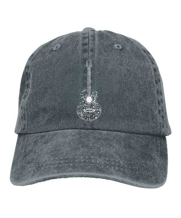 HHNLB Guitar And Music Notes-1 Vintage Jeans Baseball Cap For Men And Women - Asphalt - CC189D84D28