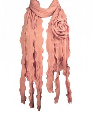 Acrylic Fashion Large Flower Ruffle Knitted Tassel Ends Long Scarf - Pink - C91157WVINV