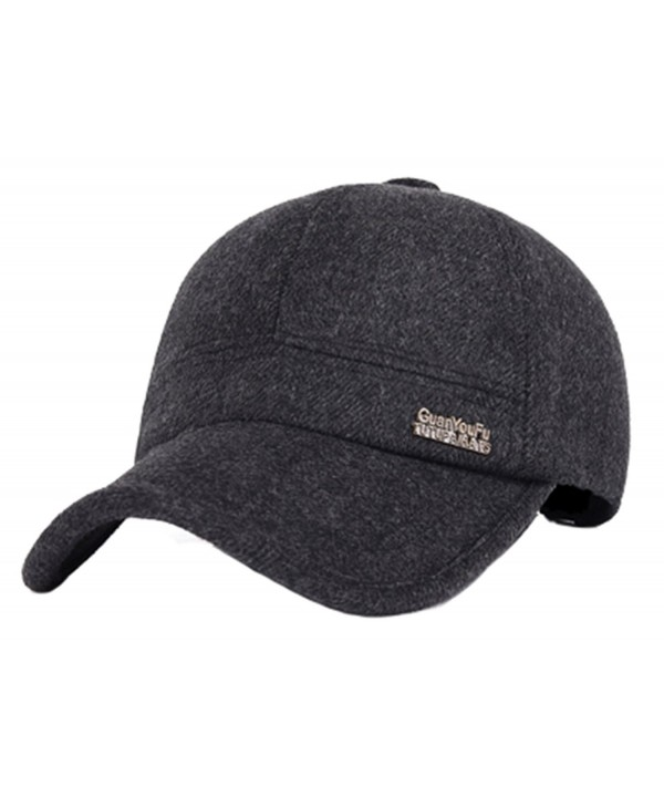 Men's Winter Thick Gray Black Woolen Cap Cover Ears Baseball Hat - Black - CB12ODOLJZ6