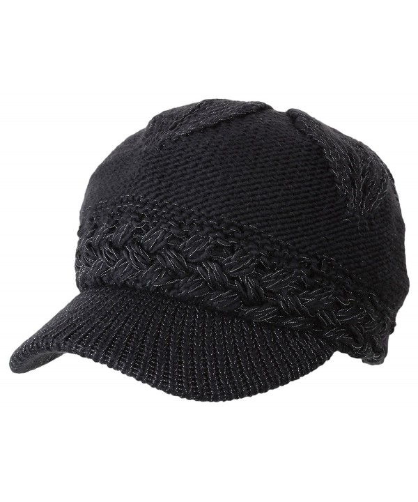 Women's Chunky Knitted Metallic Thread Double Layer Visor Beanie Hats - Solid Black - CP12CYEJBK1